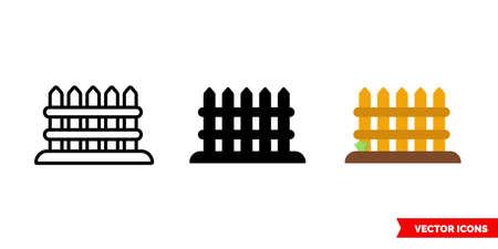 Fence icon of 3 types. Isolated vector sign symbol.