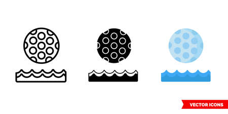 Golf ball and water icon of 3 types. Isolated vector sign symbol.