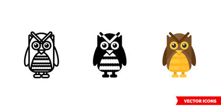 Owl icon of 3 types. Isolated vector sign symbol.