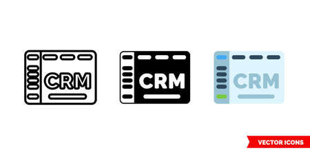 CRM icon of 3 types. Isolated vector sign symbol.
