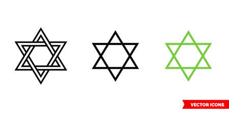 Hexagram icon of 3 types. Isolated vector sign symbol.