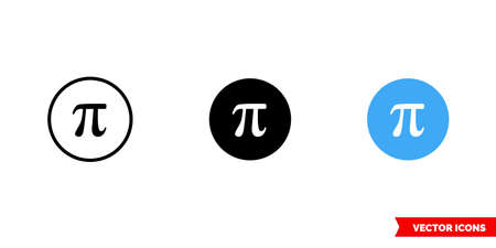 Pi symbol icon of 3 types. Isolated vector sign symbol. Vettoriali