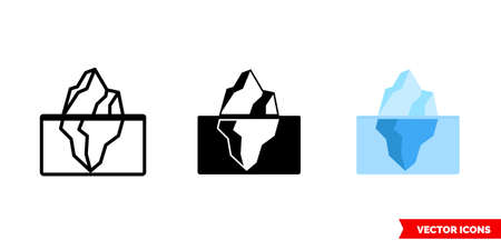 Iceberg icon of 3 types. Isolated vector sign symbol.  イラスト・ベクター素材