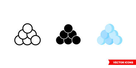 Snow ball icon of 3 types. Isolated vector sign symbol.