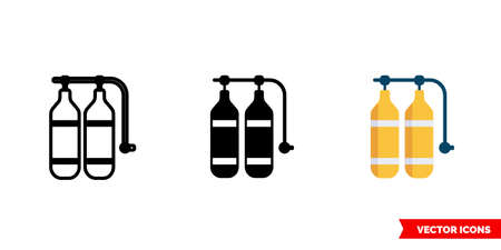 Aqualung icon of 3 types. Isolated vector sign symbol. Illustration