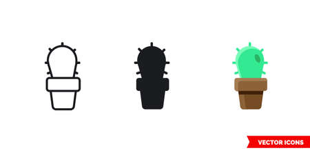 Cactus icon of 3 types. Isolated vector sign symbol. 向量圖像