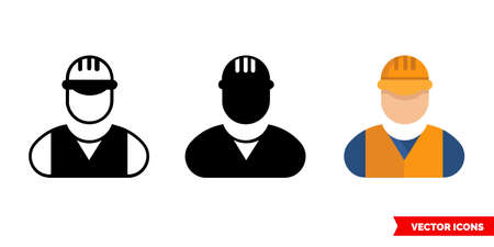 Builder icon of 3 types. Isolated vector sign symbol.