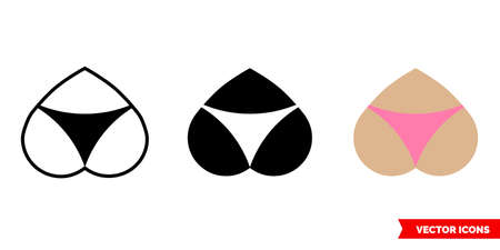 Buttocks icon of 3 types. Isolated vector sign symbol.