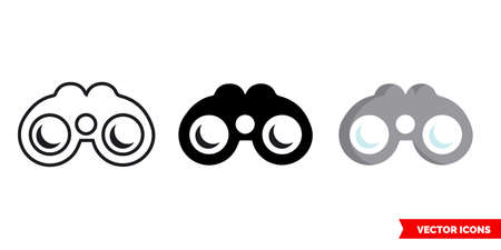 Binoculars icon of 3 types. Isolated vector sign symbol.