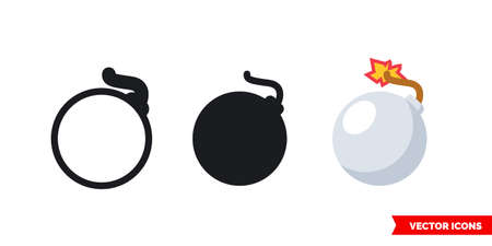Bomb icon of 3 types. Isolated vector sign symbol.