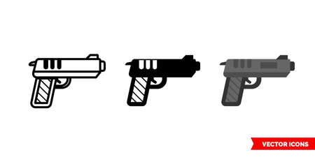 Gun icon of 3 types. Isolated vector sign symbol.