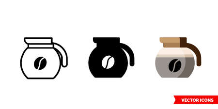 Coffeepot icon of 3 types. Isolated vector sign symbol.