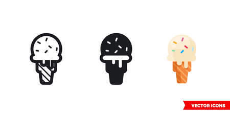 Ice cream icon of 3 types. Isolated vector sign symbol.