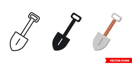 Shovel icon of 3 types. Isolated vector sign symbol.