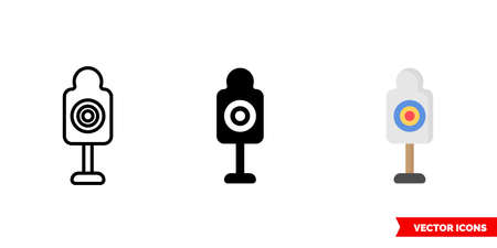 Shooting target icon of 3 types. Isolated vector sign symbol.