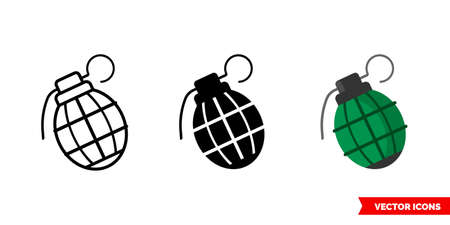 Grenade icon of 3 types. Isolated vector sign symbol. Vettoriali