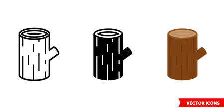 Log icon of 3 types. Isolated vector sign symbol.