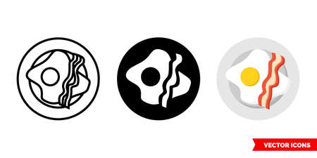 Bacon and eggs icon of 3 types. Isolated vector sign symbol.