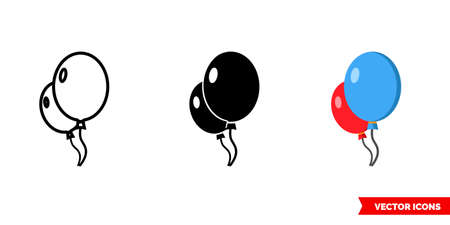 Balloons icon of 3 types. Isolated vector sign symbol.