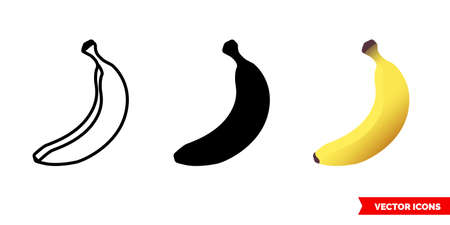 Banana icon of 3 types. Isolated vector sign symbol. Illustration