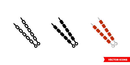 Barbecue icon of 3 types. Isolated vector sign symbol. Vettoriali