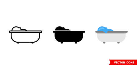 Bathtub icon of 3 types. Isolated vector sign symbol.