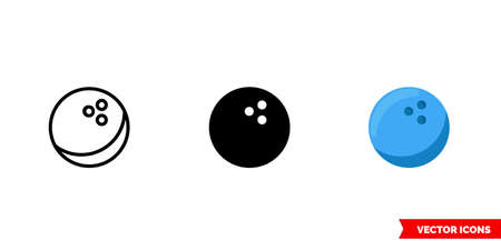 Bowling ball icon of 3 types. Isolated vector sign symbol.