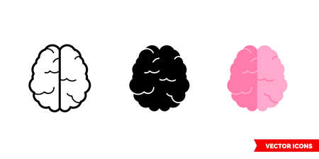 Brain icon of 3 types. Isolated vector sign symbol.