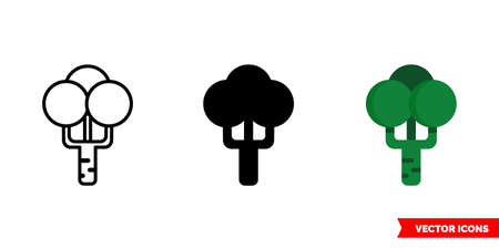 Broccoli icon of 3 types. Isolated vector sign symbol.