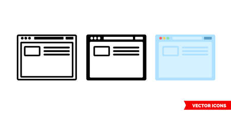Browser icon of 3 types. Isolated vector sign symbol.