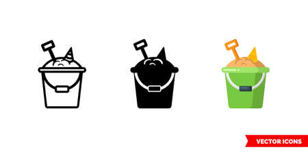 Bucket with sand icon of 3 types. Isolated vector sign symbol.