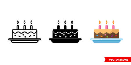 Cake icon of 3 types. Isolated vector sign symbol.