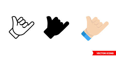 Call gesture icon of 3 types. Isolated vector sign symbol.