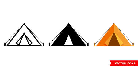 Camp or tent icon of 3 types. Isolated vector sign symbol.