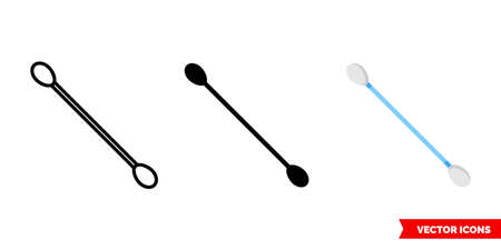Cotton buds icon of 3 types. Isolated vector sign symbol.