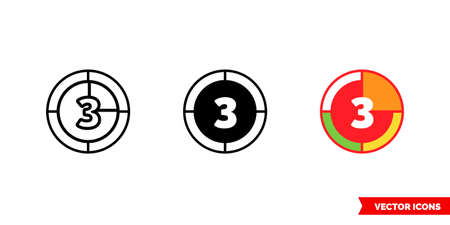 Countdown icon of 3 types. Isolated vector sign symbol.