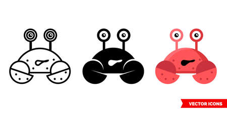 Crab icon of 3 types. Isolated vector sign symbol. Illustration
