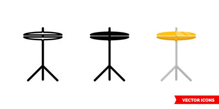 Cymbals icon of 3 types. Isolated vector sign symbol. Illustration
