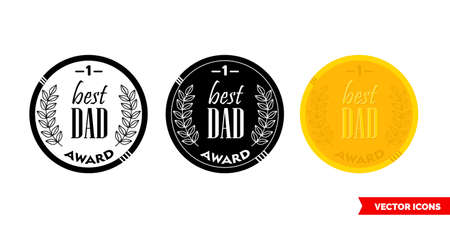 Dad award icon of 3 types. Isolated vector sign symbol. Illustration