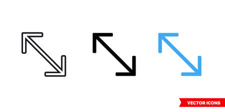 Diagonal arrow icon of 3 types. Isolated vector sign symbol. Illustration