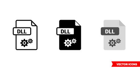 DLL file icon of 3 types. Isolated vector sign symbol.