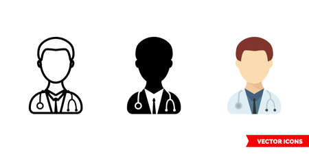 Doctor man icon of 3 types. Isolated vector sign symbol.