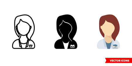 Doctor woman icon of 3 types. Isolated vector sign symbol. Illustration