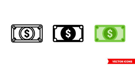 Dollar money icon of 3 types. Isolated vector sign symbol.