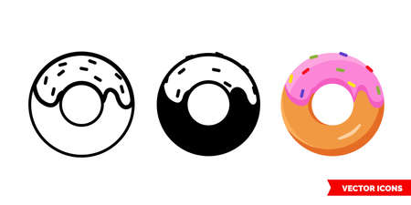 Donut icon of 3 types. Isolated vector sign symbol.