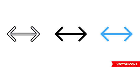 Double arrow icon of 3 types. Isolated vector sign symbol.