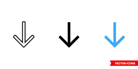 Down arrow icon of 3 types. Isolated vector sign symbol.