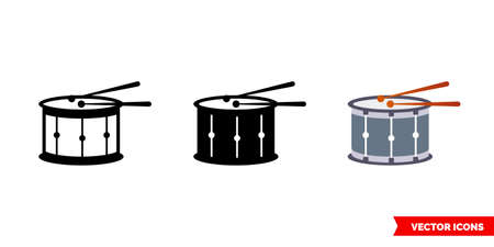 Drum icon of 3 types. Isolated vector sign symbol. Illustration