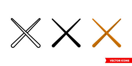 Drumsticks icon of 3 types. Isolated vector sign symbol.