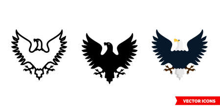 Eagle icon of 3 types. Isolated vector sign symbol.